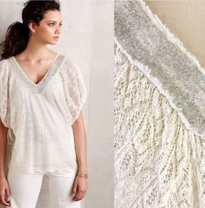 Anthropologie White Delicate Knit Poncho Sweater L